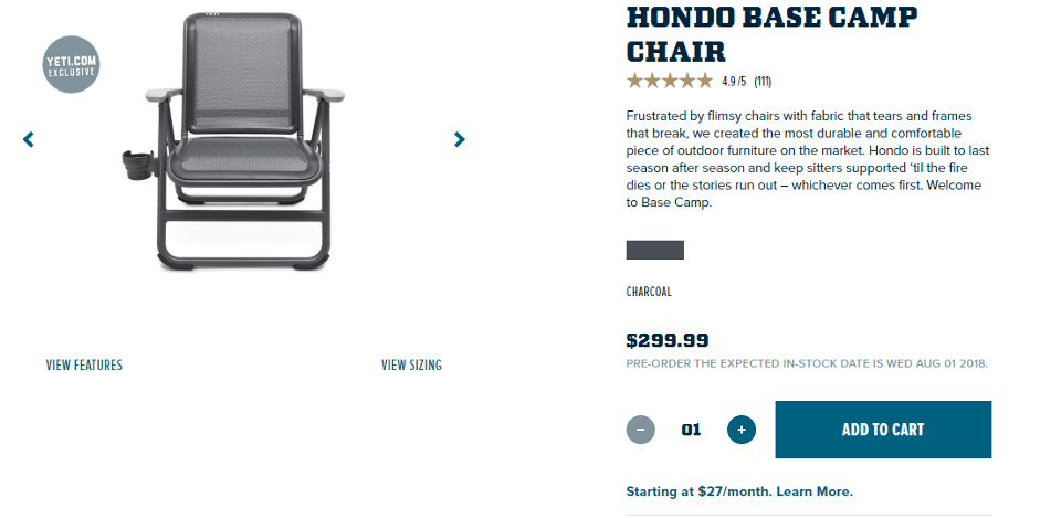 yeti folding chair dental brands in india so is branching out into new gear tigerdroppings com and apparently you can get financing for your