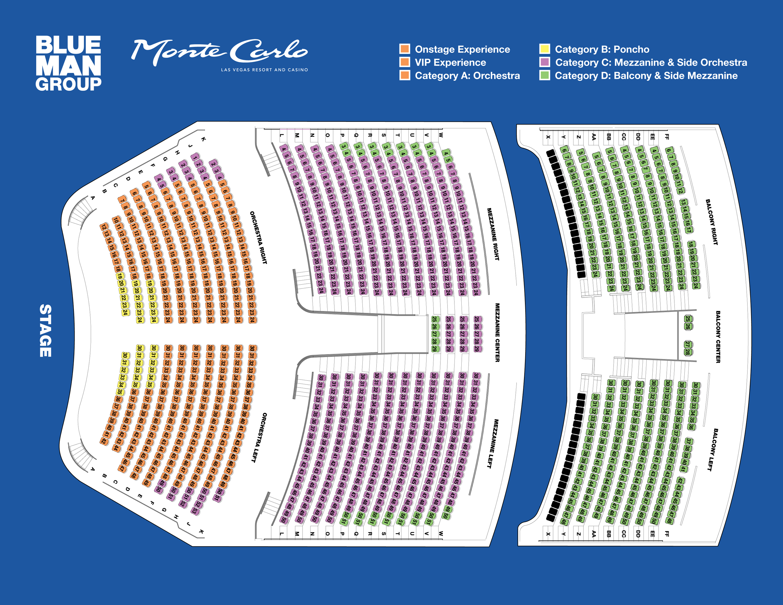 Blue man seating chart also monte carlo las vegas resort and casino tickets rh goldstar