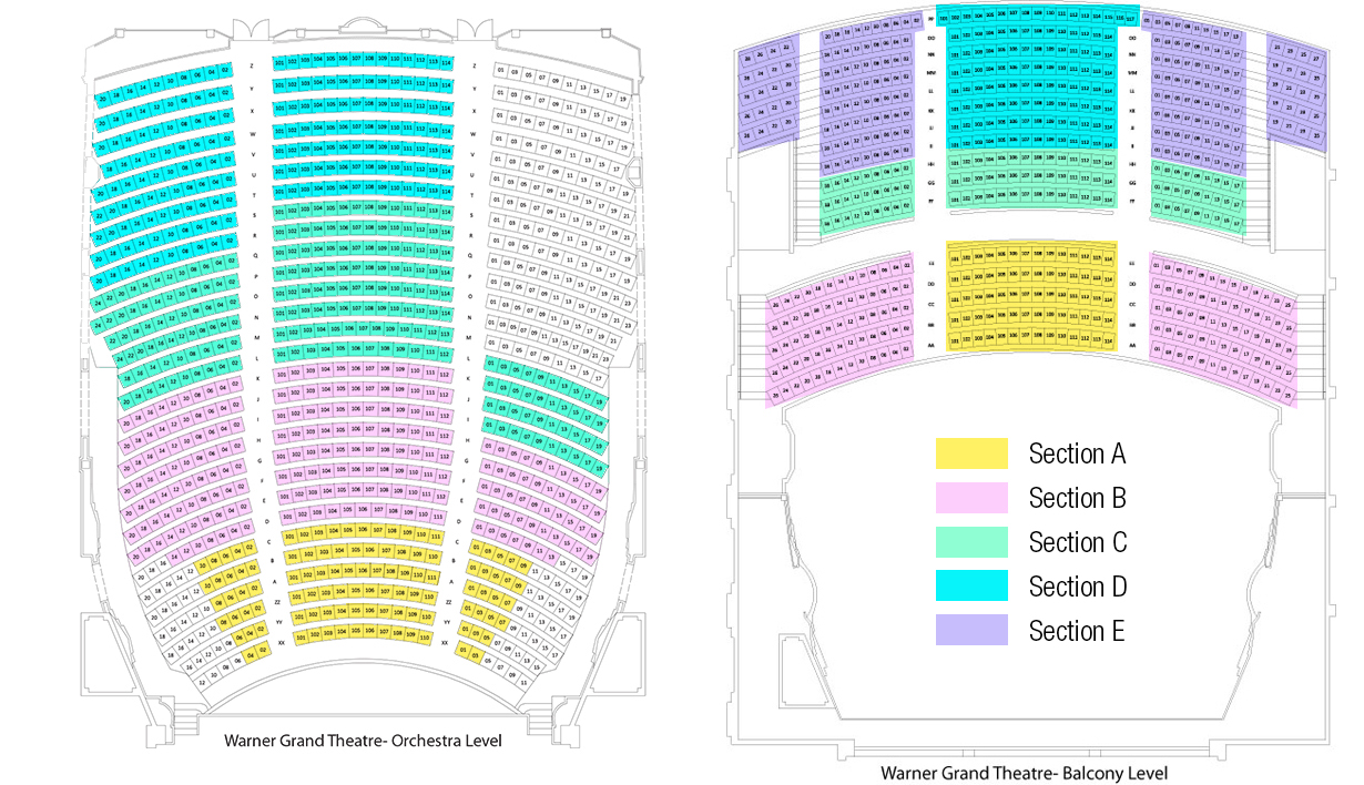 Les miserables seating chart also warner grand theatre los angeles tickets schedule charts rh goldstar