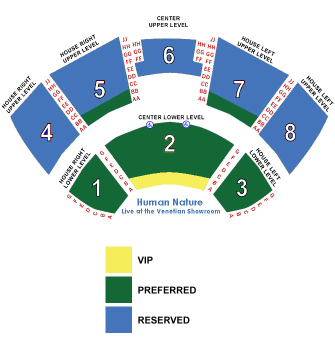 Human nature venetian seating chart also sands showroom at the las vegas tickets schedule rh goldstar