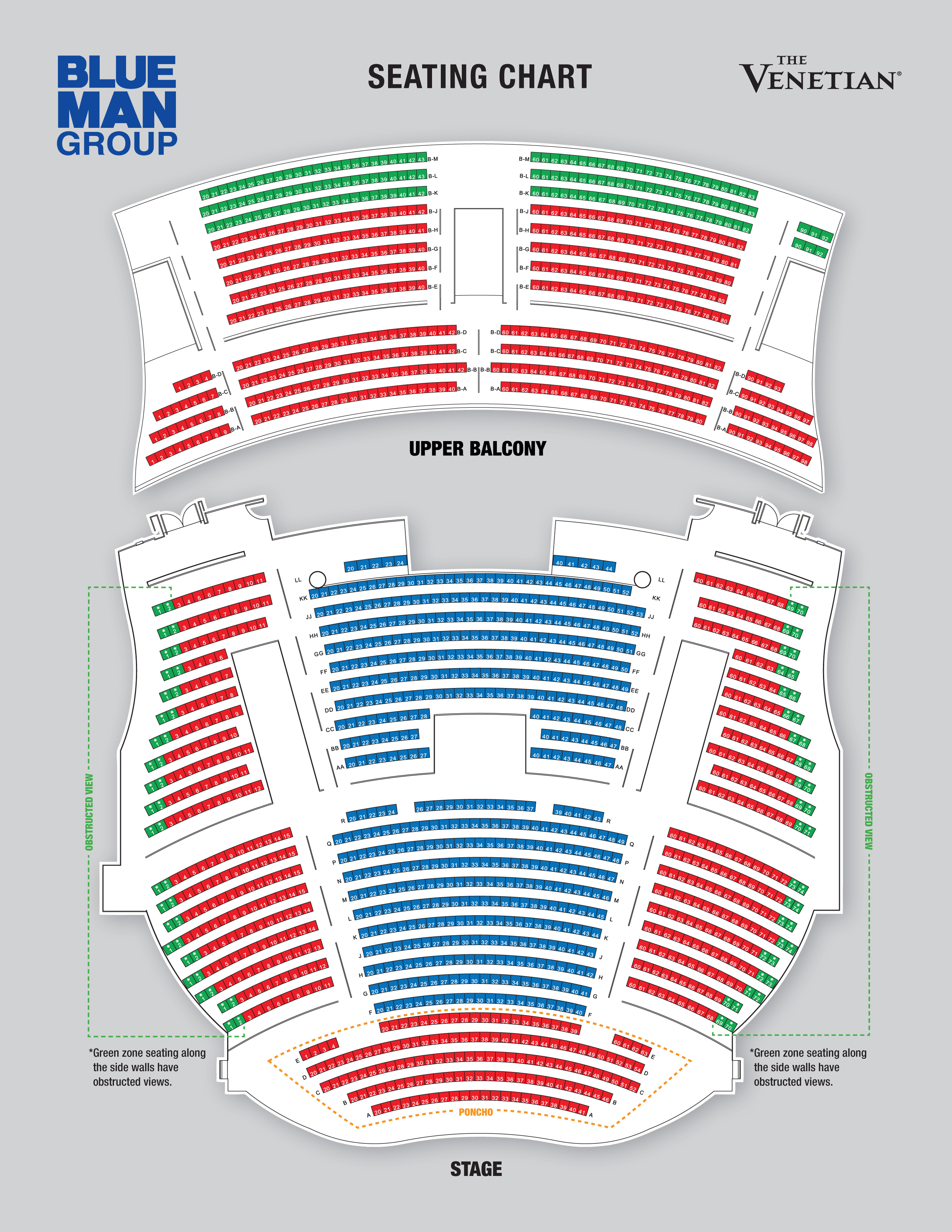 Blue man group seating chart also theatre las vegas tickets schedule charts rh goldstar