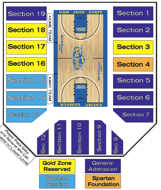 Seating charts also the event center at san jose state university tickets rh goldstar