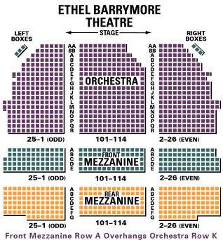 Seating charts barrymore theatre also ethel new york tickets schedule rh goldstar