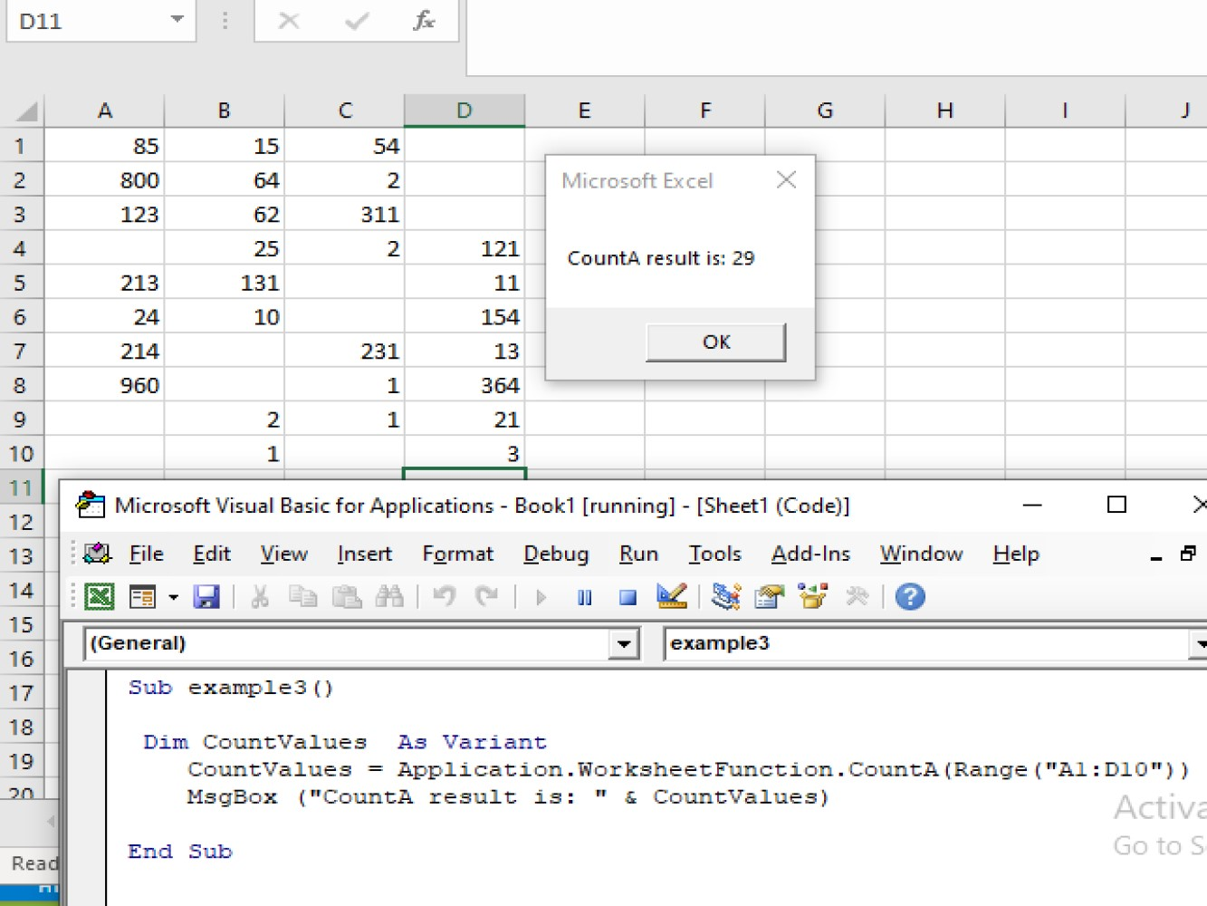 Using The Excel Vba Counta Function