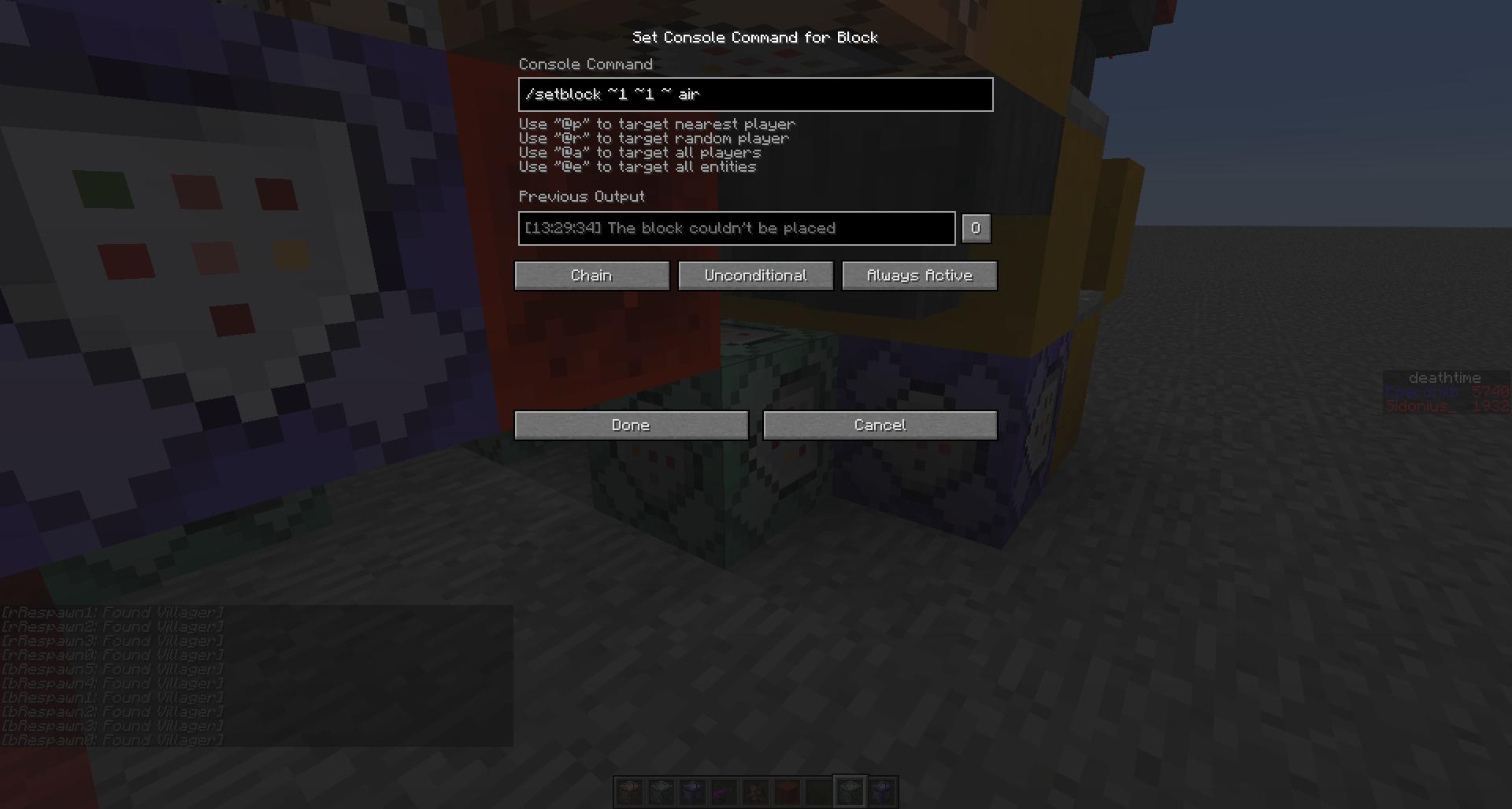 Blocks Minecraft Chain Command