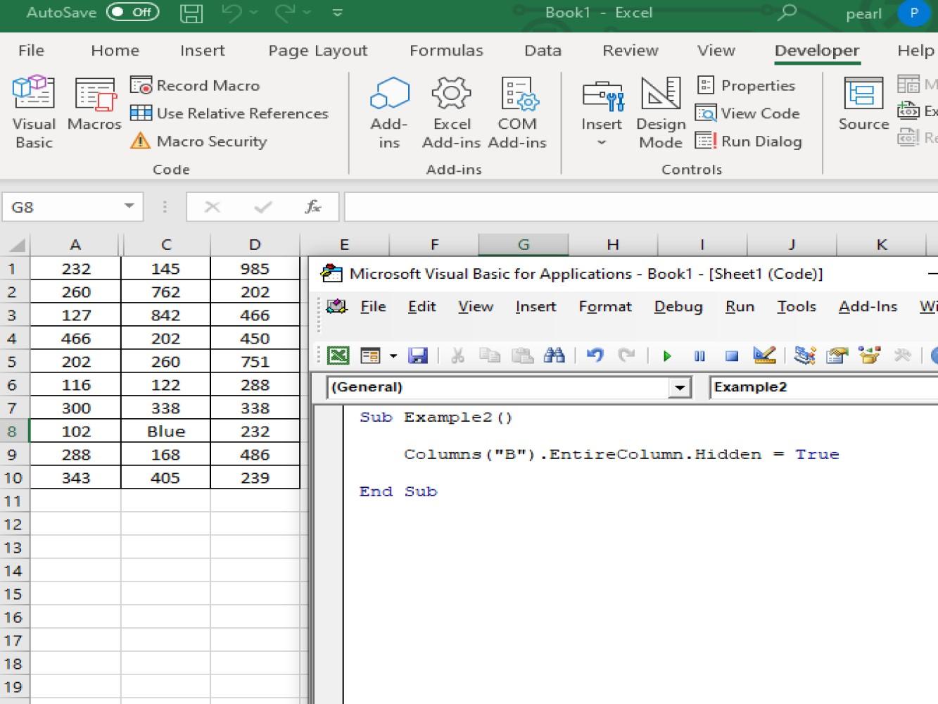 Hide Columns With Excel Vba Hide Column