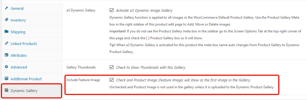 Dynamic Gallery Settings