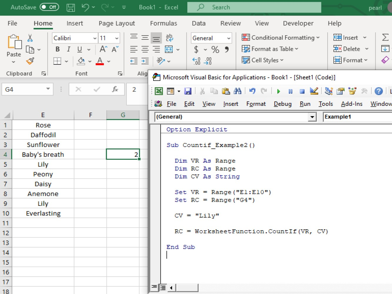 How To Use Vba Count If