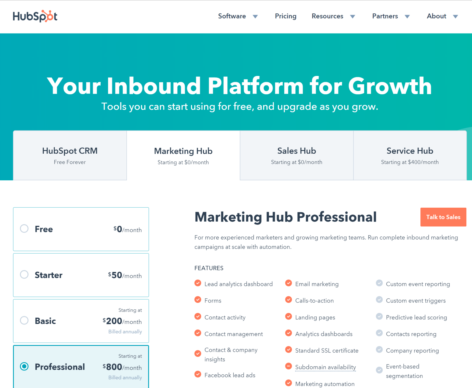 statusquota churn reduction hubspot pricing page