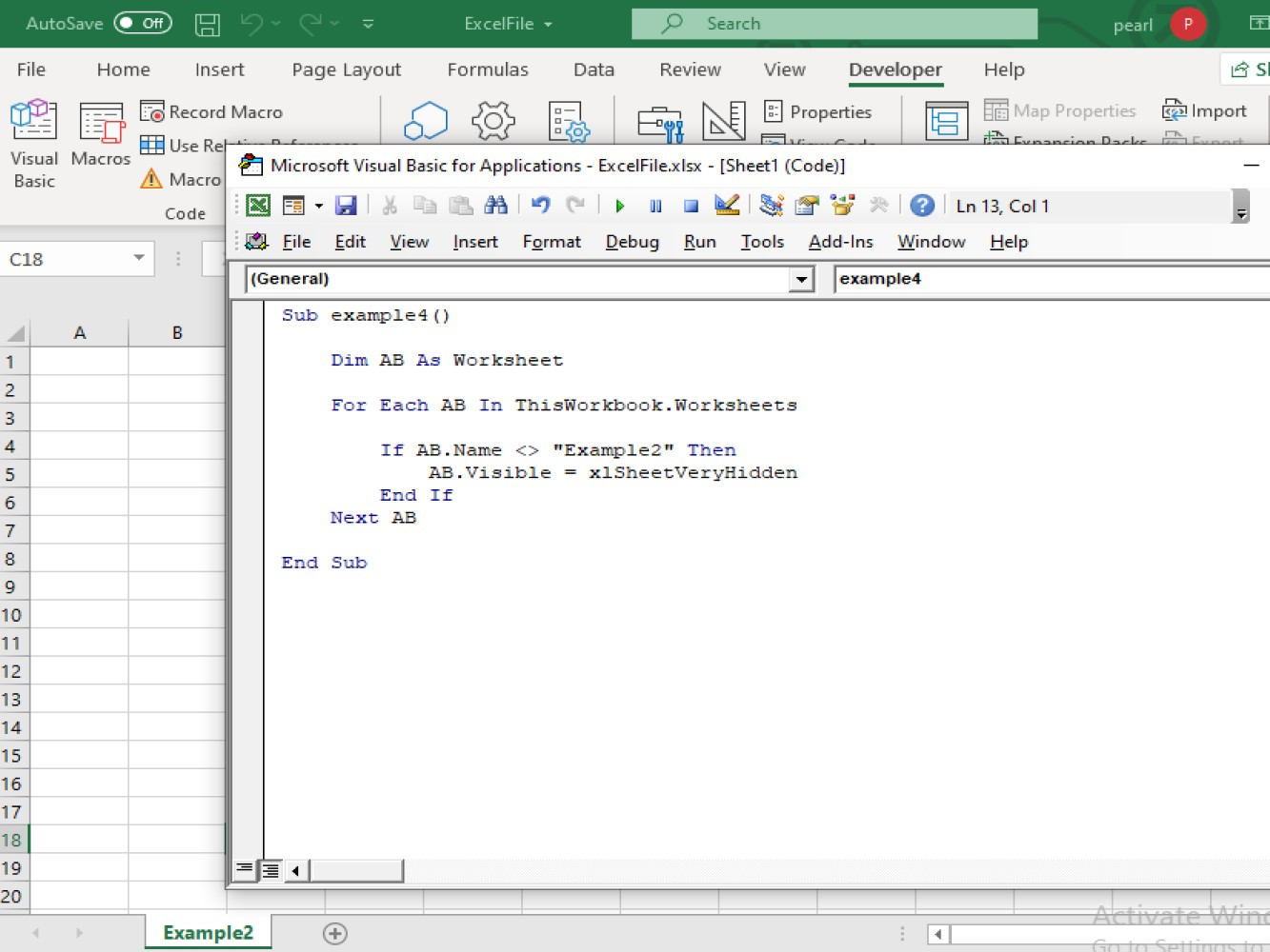 Using Vba Excel Not Equal To