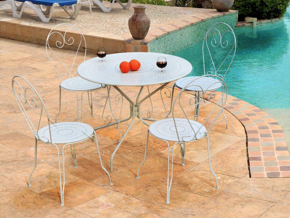 Salon de jardin  Retro  mtal coloris blanc  1 table  4 chaises 54410