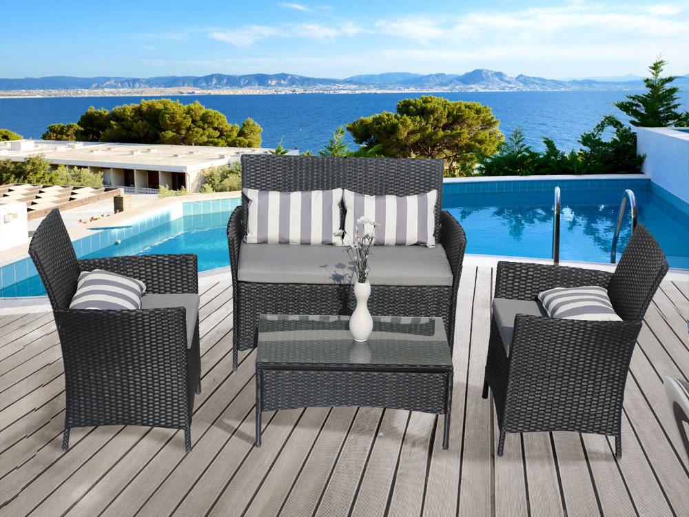 salon de jardin en resine tressee toronto 1 canape 2 fauteuils 1 table basse 59584