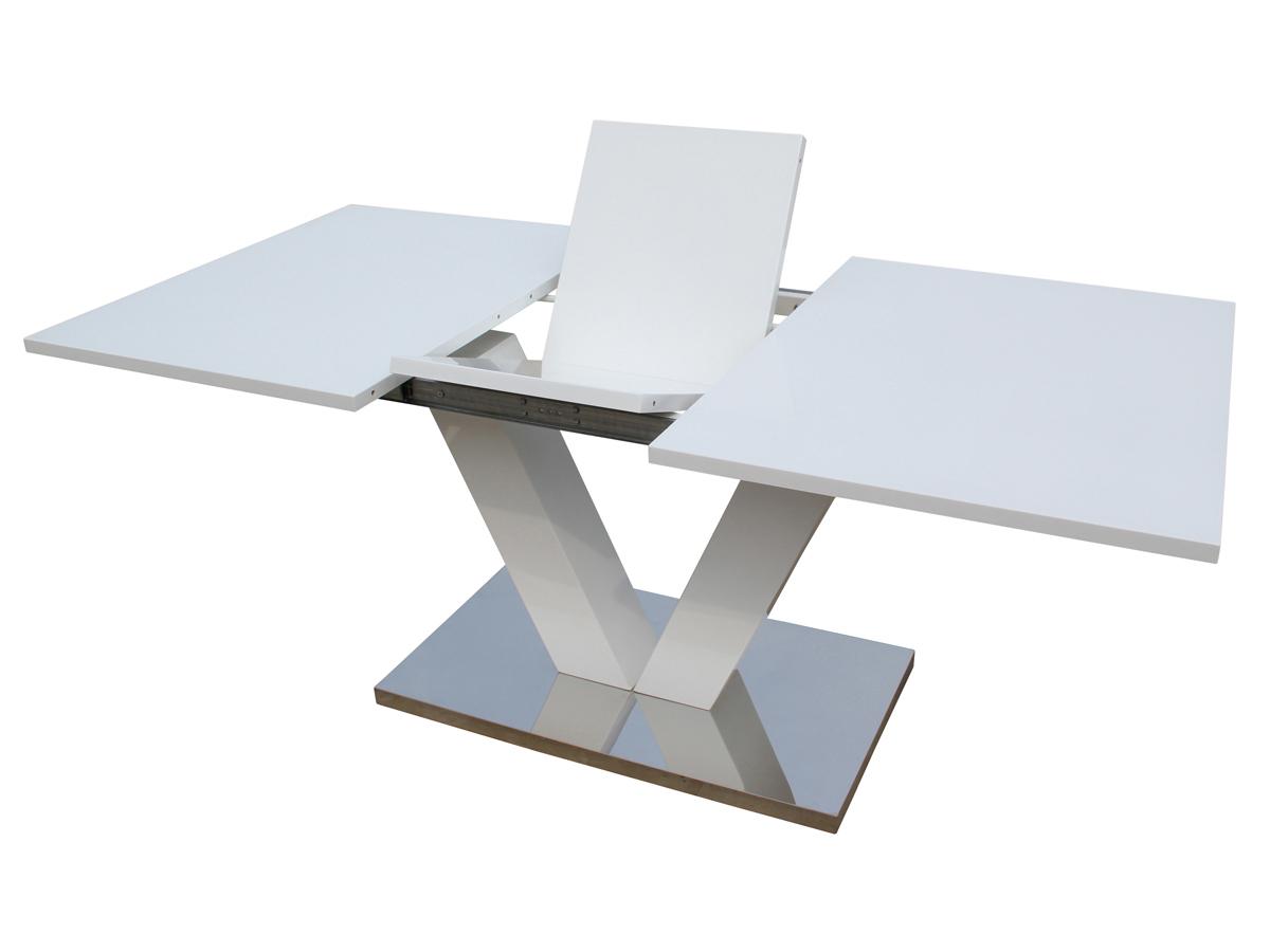 Table Repas Extensible Lora Dimensions 140 180 X 90 X 75 Cm Blanc Laque 70058