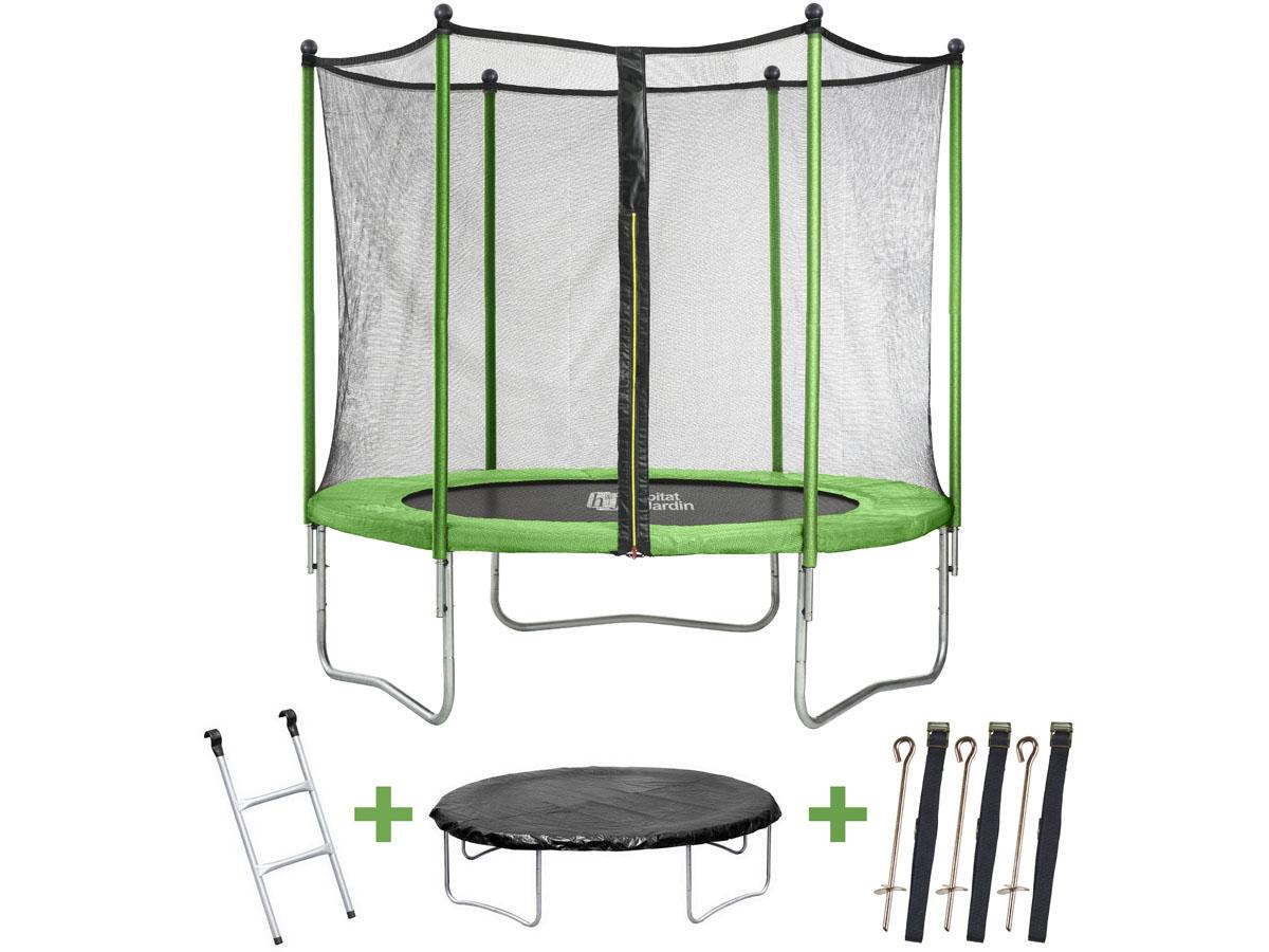 trampoline yoopi o 3 05 m avec filet echelle couverture kit d ancrage 68414