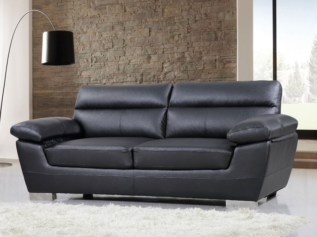 canape cuir reconstitue pvc dallas 3 places noir