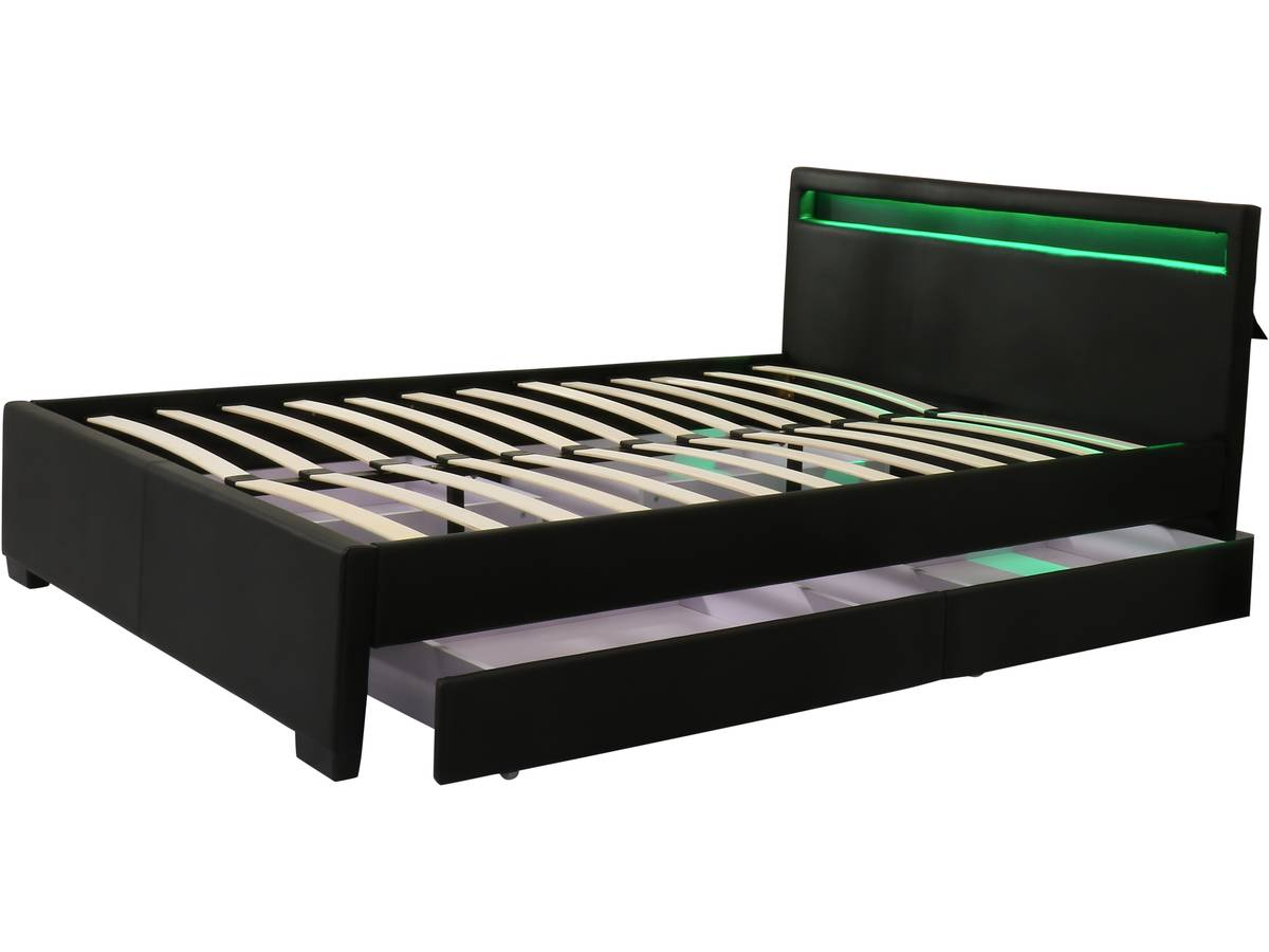 lit led double avec tiroirs nico