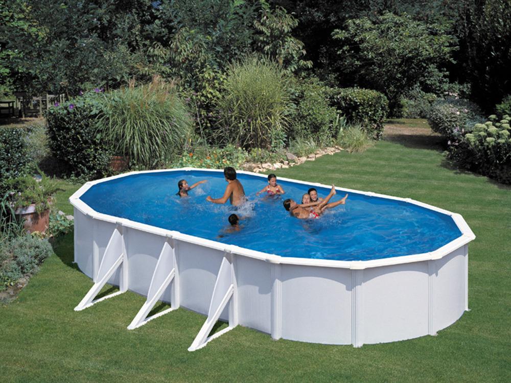 Kit piscine acier ovale quotAtlantisquot blanche 730 x 375 x