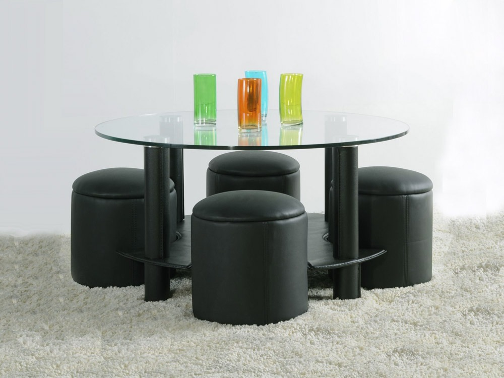 Awesome table basse ronde avec pouf 2 table de salon en - Table ronde avec pouf ...