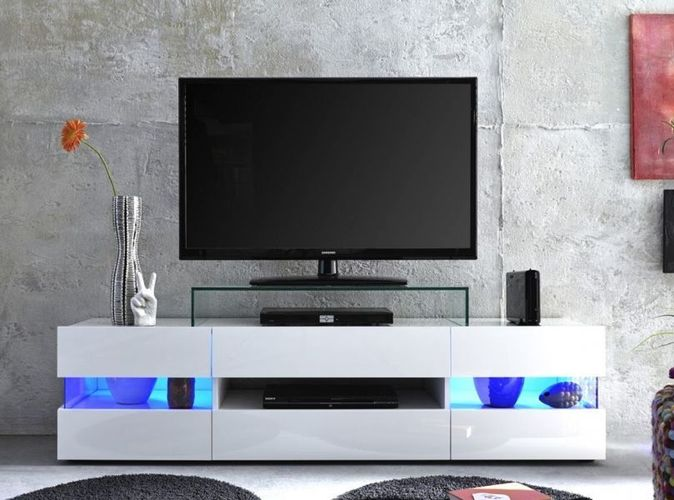 tv lowboard weiss hochglanz 170 cm tv hifi mobel fernsehtisch board bis 65 sonic