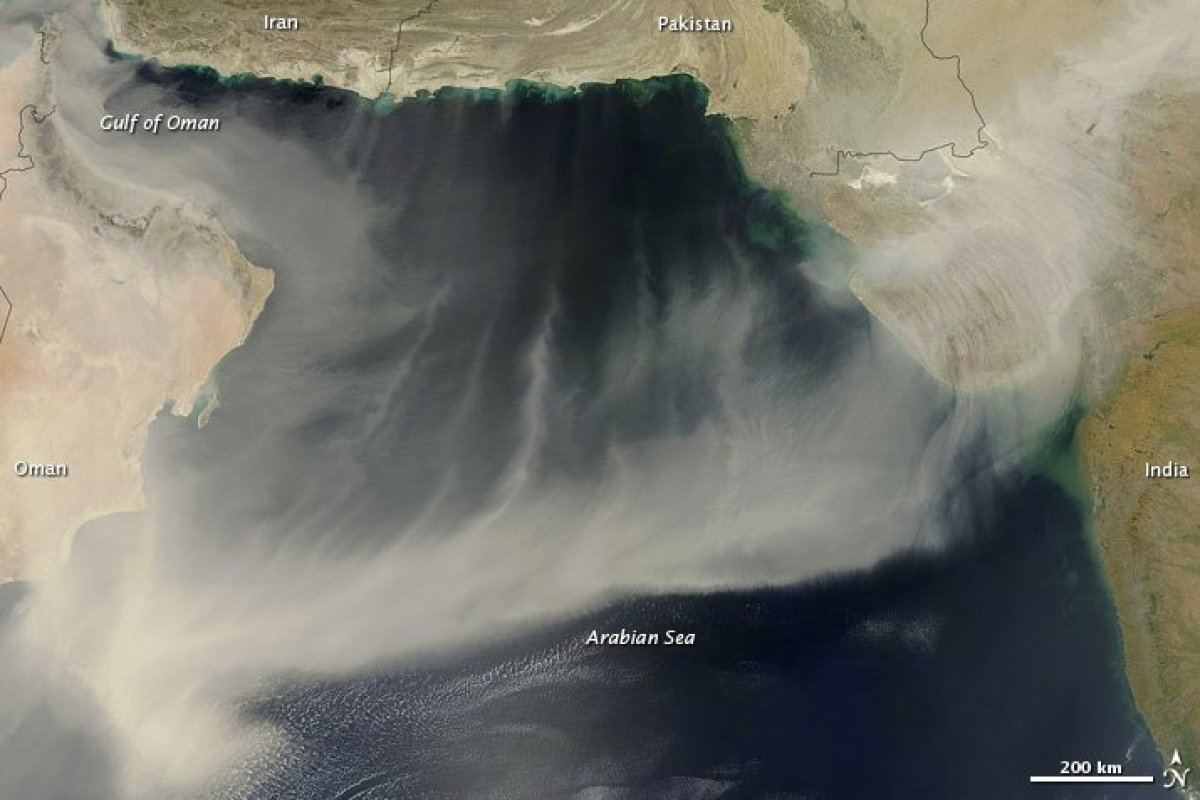 March 21 2012 sandstorm over the Arabian Peninsula, Arabian Sea and India