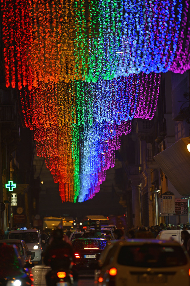 Romes Gay Christmas Lights Spark Anger HuffPost