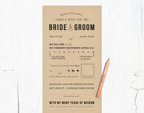 Fun Wedding Idea- mad libs style wedding table game