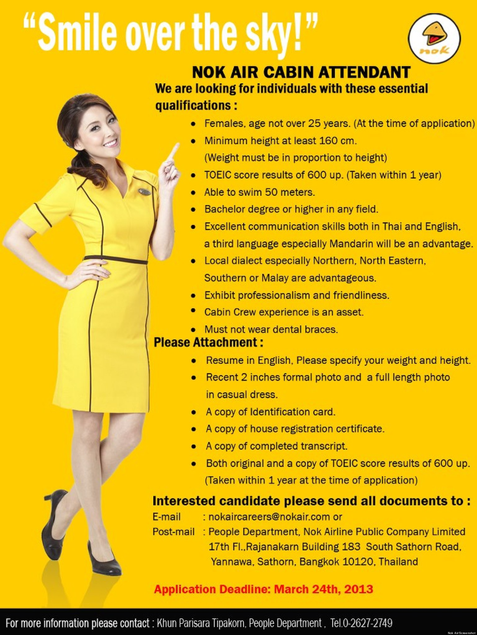 Nok Air Flight Attendants Airline Looking For Young
