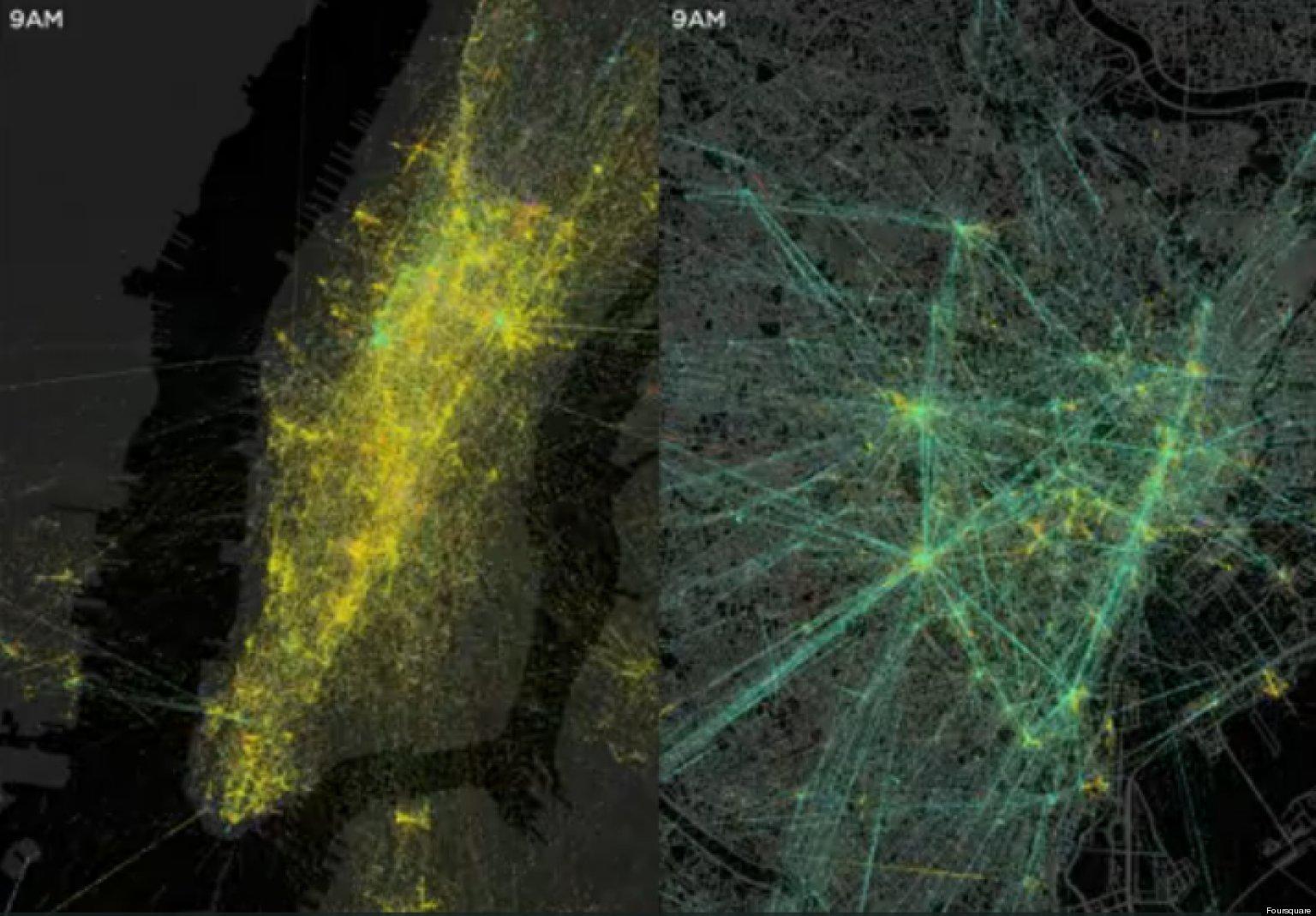 Foursquare Visualization Mesmerizing Map Illustrates New York City Tokyo Check Ins Video