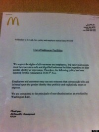 Washington McDonald's Supports Transgender Rights With ...