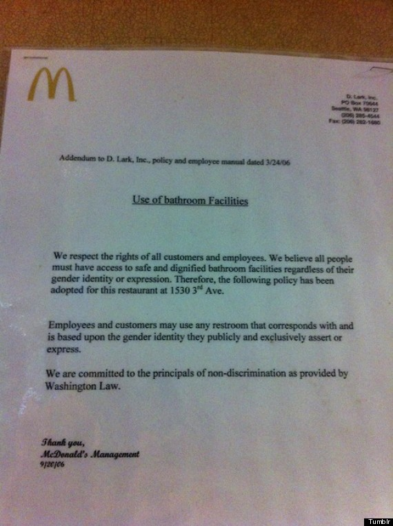 Washington McDonalds Supports Transgender Rights With