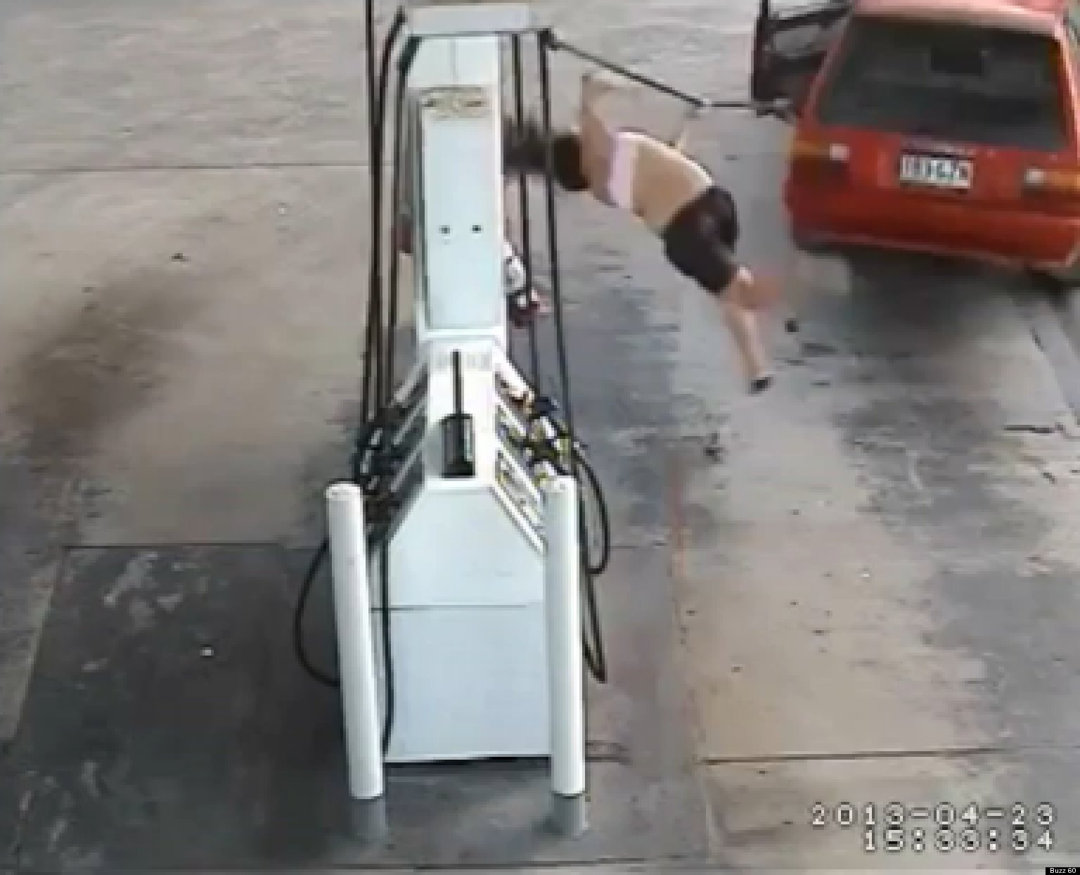 Gas Thief Flung From Pump Caught On Camera In Australia VIDEO  HuffPost