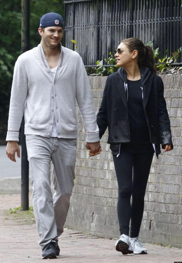 Mila Kunis Ashton Kutcher Couple Holds Hands In London