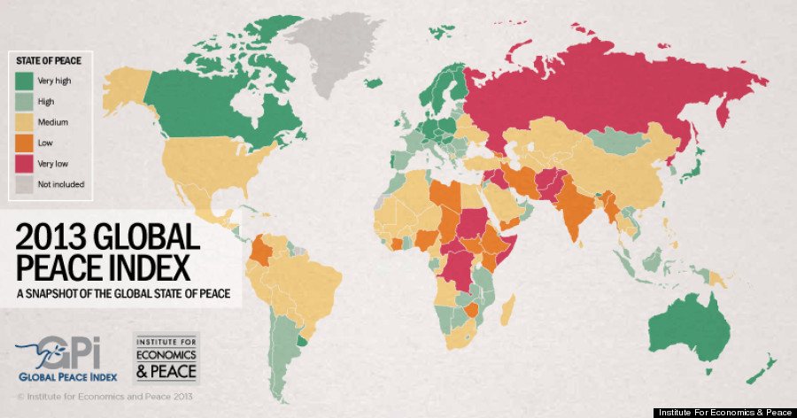 least peaceful country in