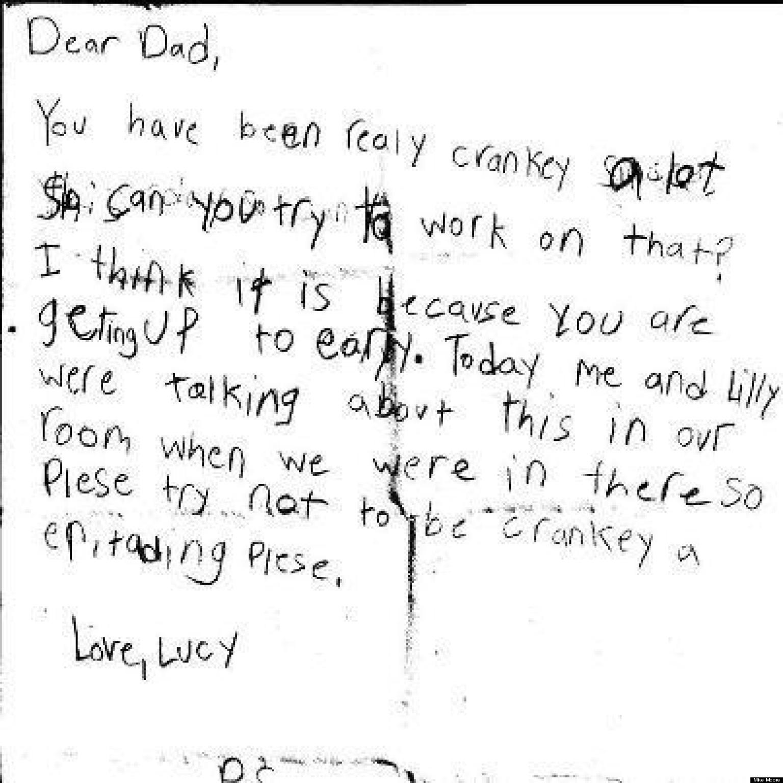 Cute Kid Note Of The Day Dad Is Really Cranky