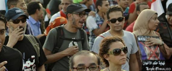Basel Ramsis en una manifestación en El Cairo esta semana. Foto compartida en Facebook de Ahmed Khaled