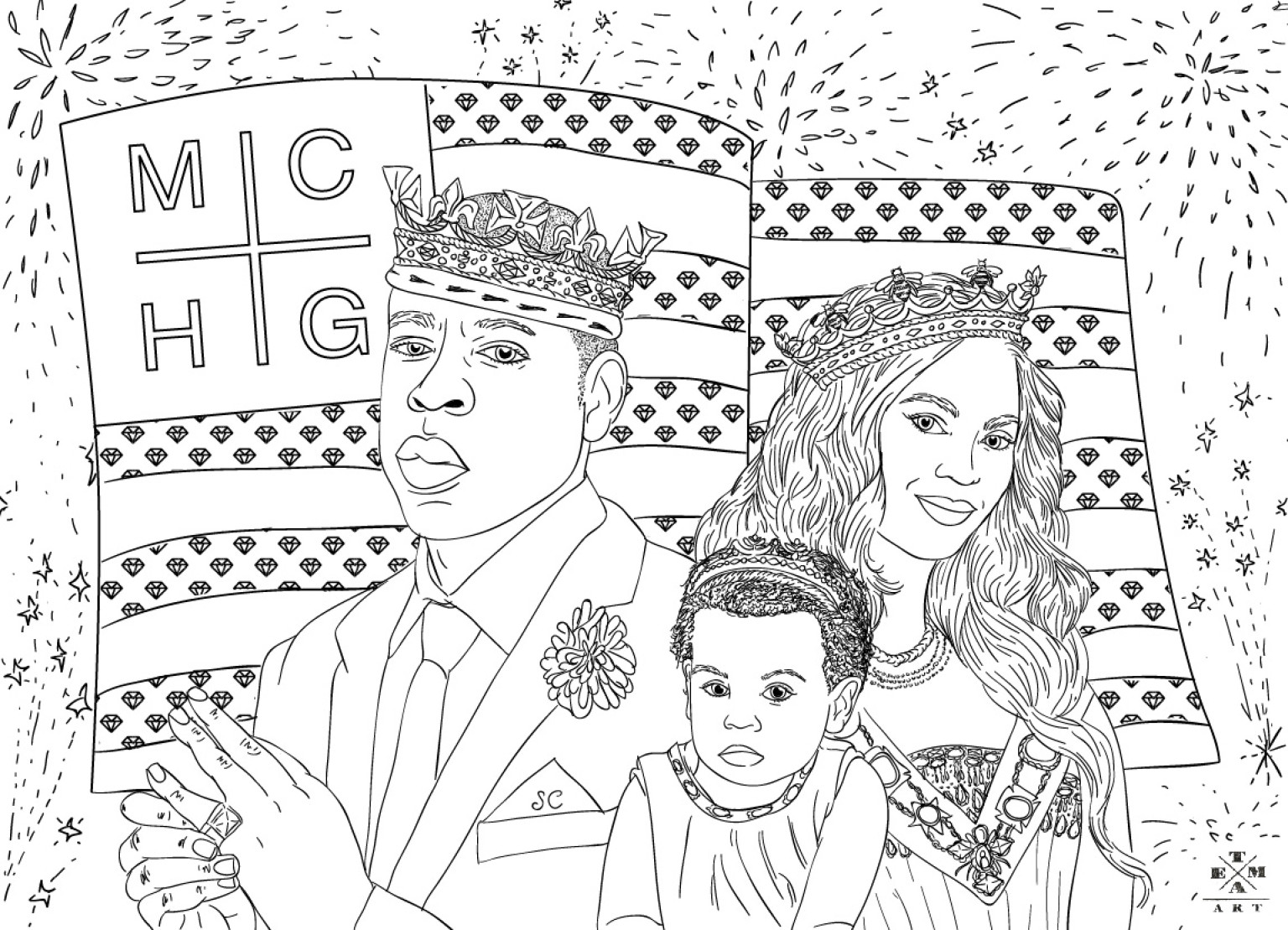 Jay-Z, Beyonce & Blue Ivy Coloring Page: The July 4th