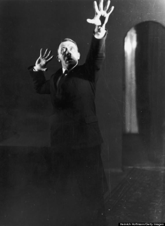 Photographer Heinrich Hoffmann captures Adolph Hitler's dramatic rehearsal.
