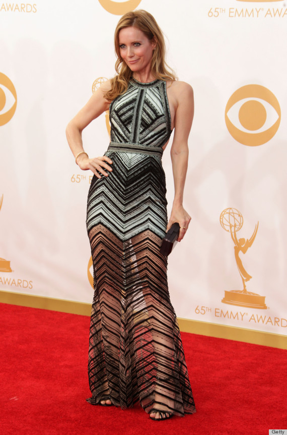 Leslie Manns Emmy Dress Is Black And White And Sheer All