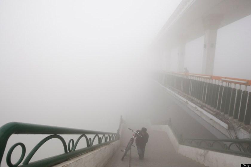 Man pushes bike in smog