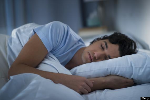 man sleep bed