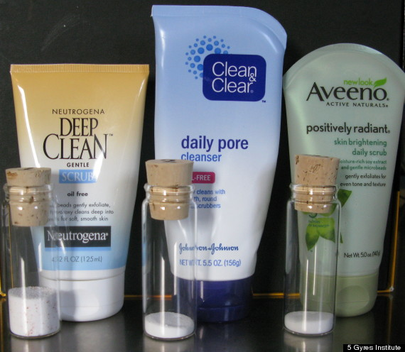 Image showing plastic microbeads that are contained in neutrogena deep clean scrub, clean & clear daily pore cleanser, Aveeno positively radiant skin brightening daily scrub
