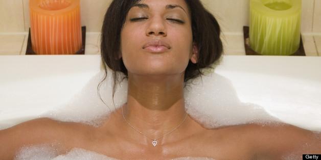 black woman bath