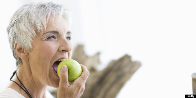 older woman eating