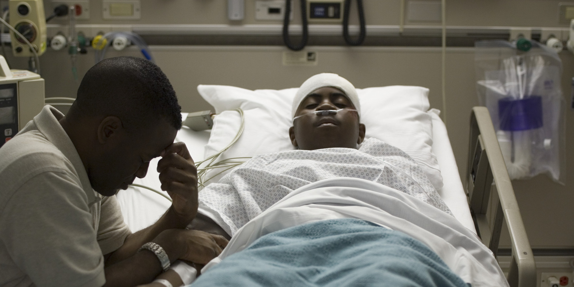 Man Sick And Dying Hospital Bed