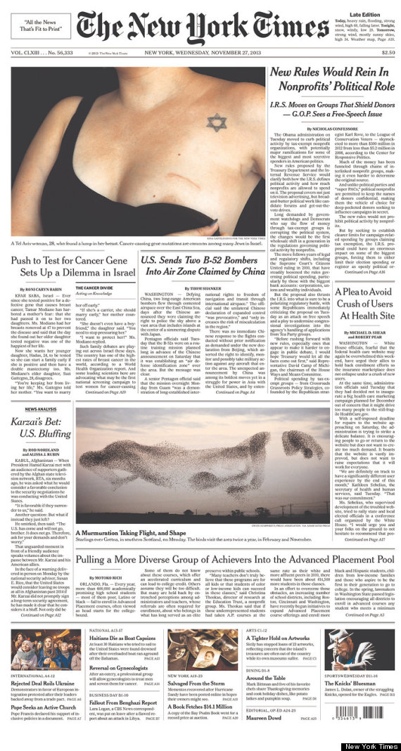 New York Times' Powerful Front Page For Breast Cancer