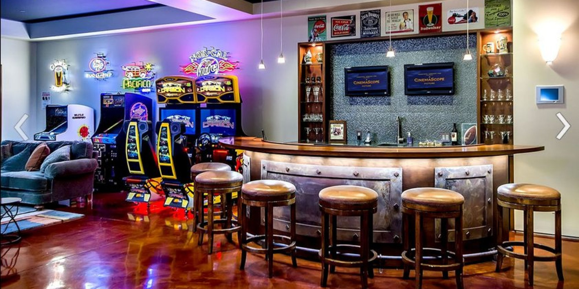 Awesome Arcade Room With Full Bar Is The Room Youd Never