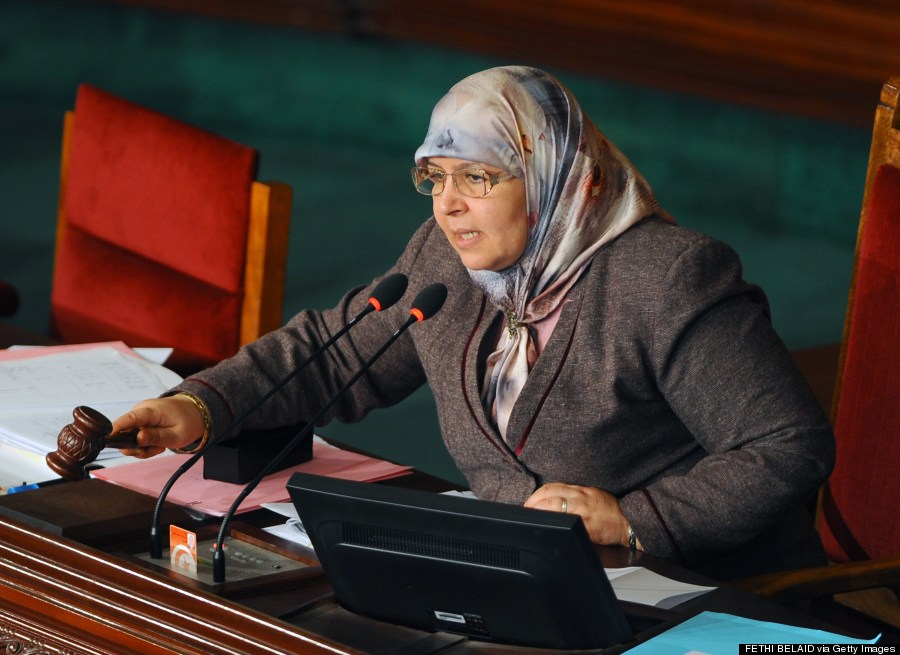 Mehrzia Laabidi speaks during a Tunisian National Constituent Assembly session in Tunis on Jan. 17, 2014. (FETHI BELAID/AFP/Getty Images)