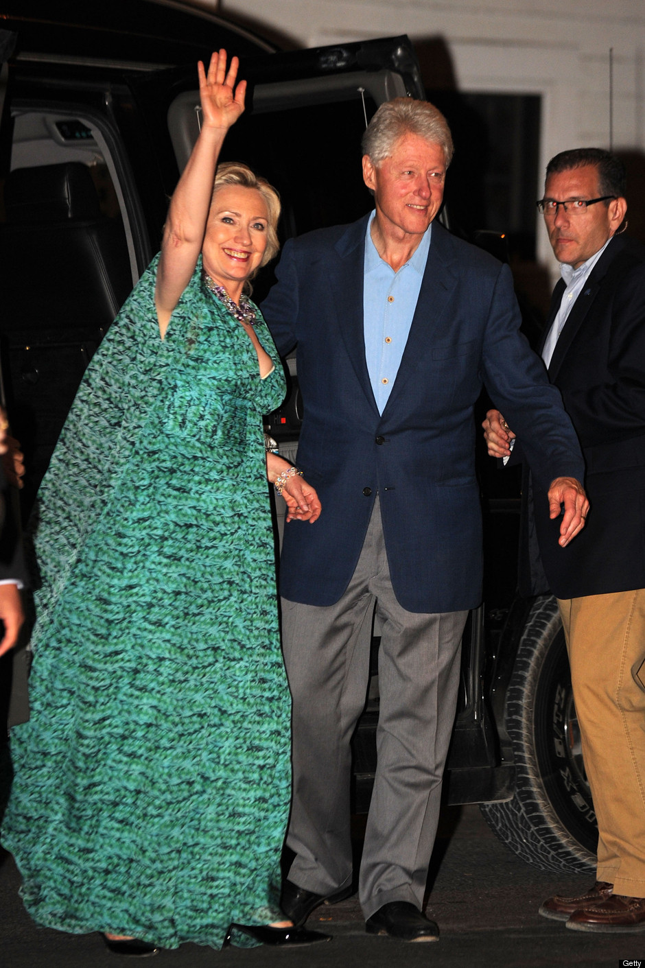 Hillary  Bill Clinton Step Out To PreWedding Party On