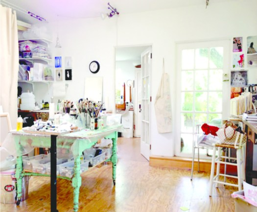 My Studio Is Filled With Light And All The Materials Supplies I Could Want In One Place A Green Funky Table To Mix Paints