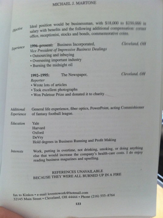 funniest resume ever